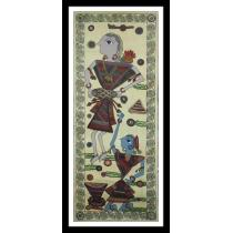 """Dancing Mithila Painting 14"""" W x 36"""" L"""