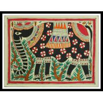 """Elephants Mithila Painting 15"""" x 11"""""""