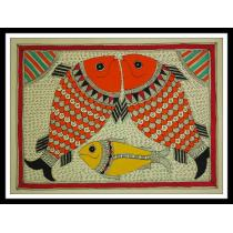 "Fishes Mithila Painting 15"" x 11"""
