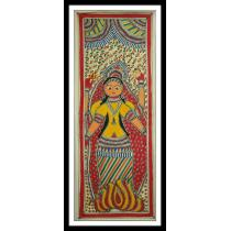 "Durga God Mithila Painting 11"" x 30.5"""