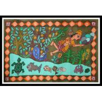"Hanuman God Mithila Painting 29.5"" x 20"""