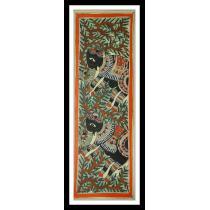 """Elephant Couple Mithila Painting 7"""" x 22"""""""