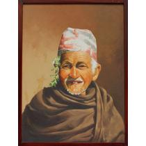 "Jyapu Old Man Oil Painting 20.5"" x 26.5"""