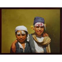 """Nepalese Brahmin Kids With Dashain Tika Painting 42.5"""" x 32"""""""