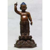 "Copper Antique Iron Oxydised Standing Buddha Statue 9"" x 5"" x 4"""