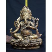 Typical Nepali Ganesh Statue Copper 8 inch tall
