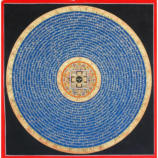"Buddha Eye Mantra Mandala Thangka Painting 23"" W x 23"" H"