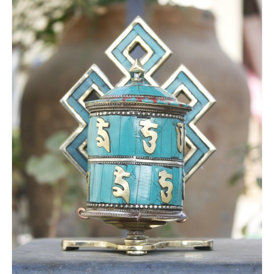"Standing Tibetan Table Prayer Wheel 6.5"" Height"