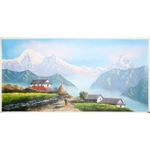"Mount Annapurna and Macchapuchre and Gurung Village Painting 45"" W x 22"" H Hand Paint Nepal"