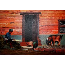 "Old Newari Woman Painting 32"" W x 22"" H"