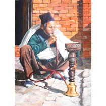 "Old Man With Hukkah Painting 22"" W x 32"" H"