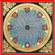 "Buddha Eye Mantra Mandala Thangka Painting 21.5"" W x 21.5"" H"