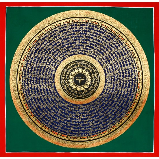 "Buddha Eye Mantra Mandala Thangka Painting 22"" W x 22"""