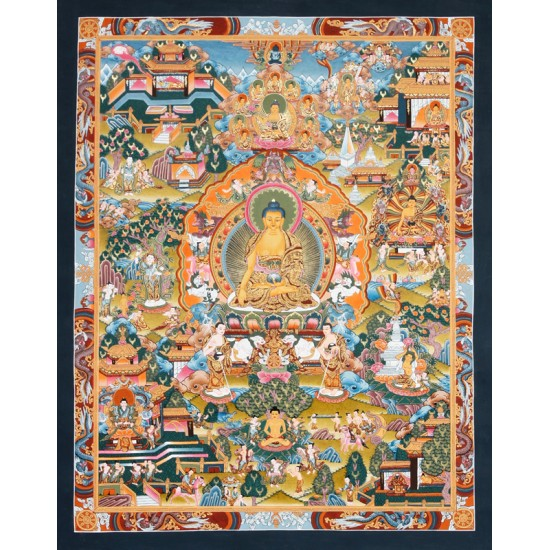 "Life Of Buddha Tibetan Thangka Painting 20.5"" W x 25.5"""