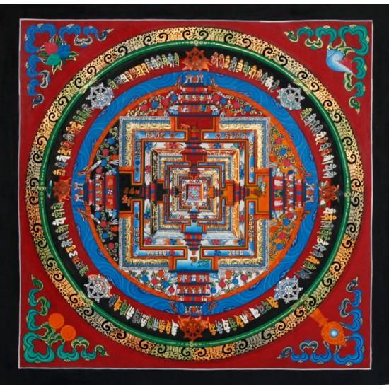 """Kaalchakra Mandala Tibetan Thangka Painting 14"""" W x 14"""" H"""