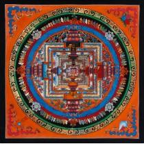 """Kaalchakra Mandala Tibetan Thangka Painting 13.5"""" W x 13.5"""" H"""