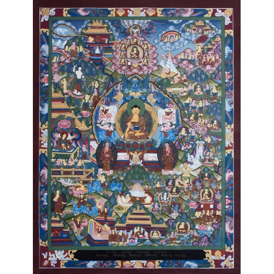 "Life Of Buddha Tibetan Thangka Painting 25"" W x 33"" H"
