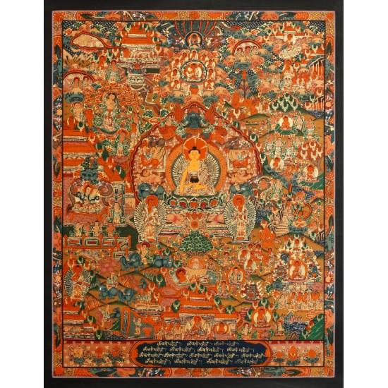 "Life Of Buddha Tibetan Thangka Painting 21"" W x 26.5"" H"