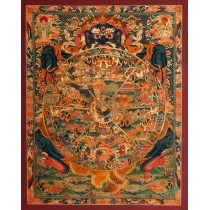 "Wheel Of Life Tibetan Thangka Painting 21"" W x 26.5"" H"