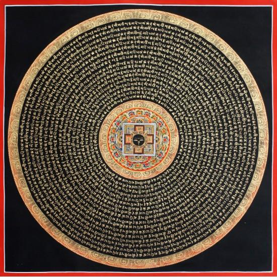 """Buddha Eye Mantra Mandala Tibetan Thangka Painting 23"""" W x 23"""" H"""