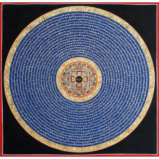 """Buddha Eye Mantra Mandala Tibetan Thangka Painting 23.5"""" W x 23.5"""" H"""