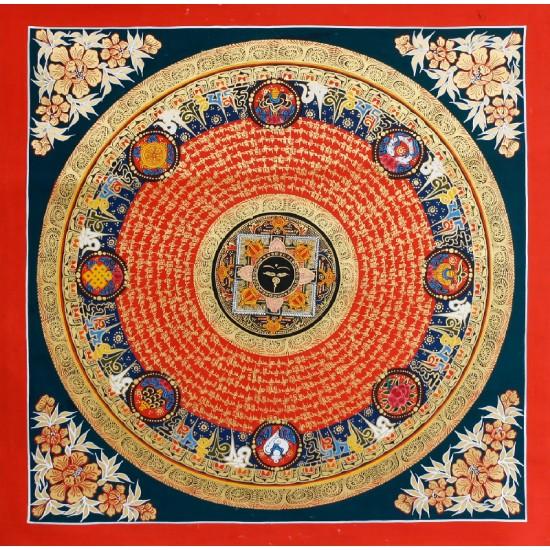 """Buddha Eye Mantra Mandala Tibetan Thangka Painting 22"""" W x 22"""" H"""