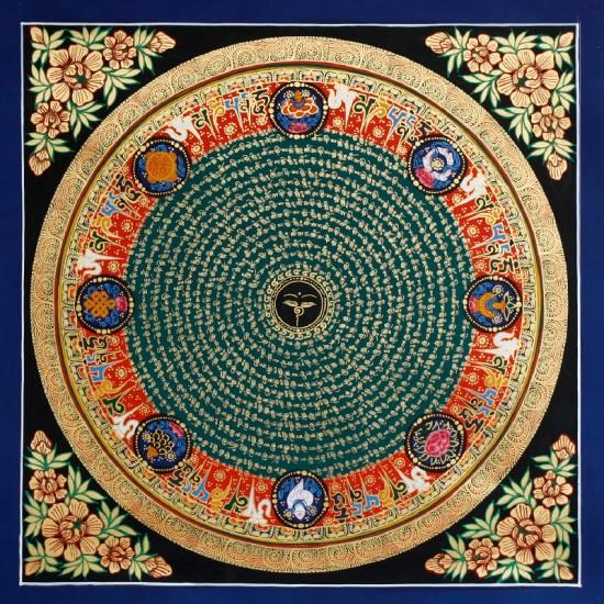 """Buddha Eye Mantra Mandala Tibetan Thangka Painting 21.5"""" W x 21.5"""" H"""