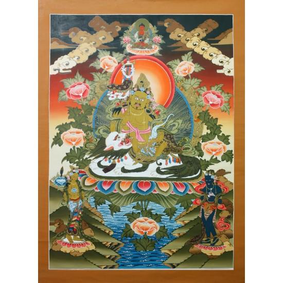 """Kuber Tibetan Thangka Painting 30"""" W x 41.5"""" H"""