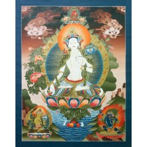 "White Tara Tibetan Thangka Painting 30.5"" W x 39.5"" H"