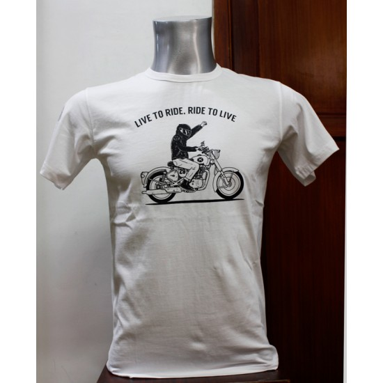 Live To Ride Printed T-shirt 100% Cotton