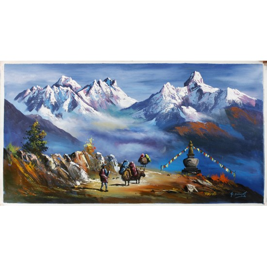 "Mount Everest And Ama Dablam Painting 36"" W x 18"" H"