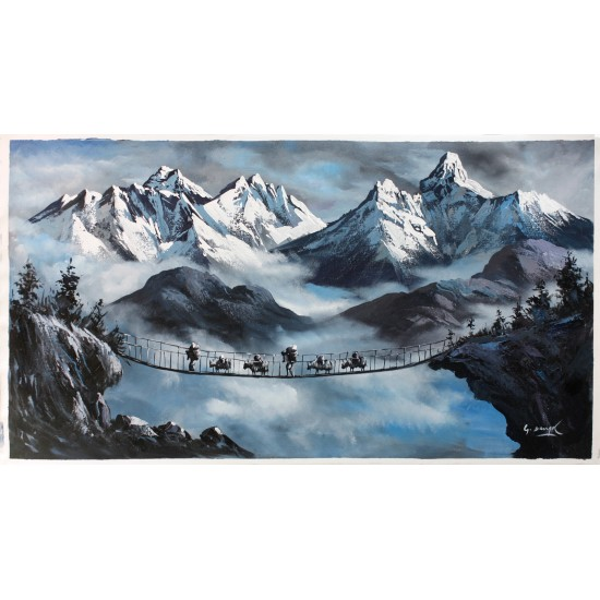 "Mount Everest And Ama Dablam Painting 16"" W x 22"" H"