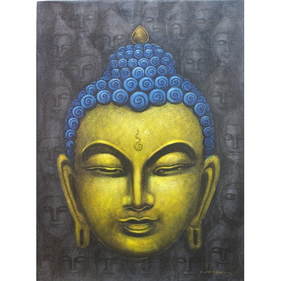 "Buddha Head Painting 16"" W x 22"" H"
