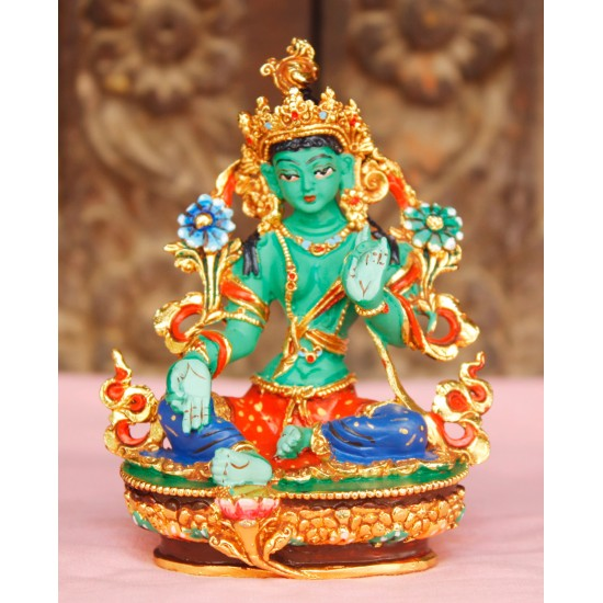 "Green Tara Painted Statue 2"" W x 2.5"" H"