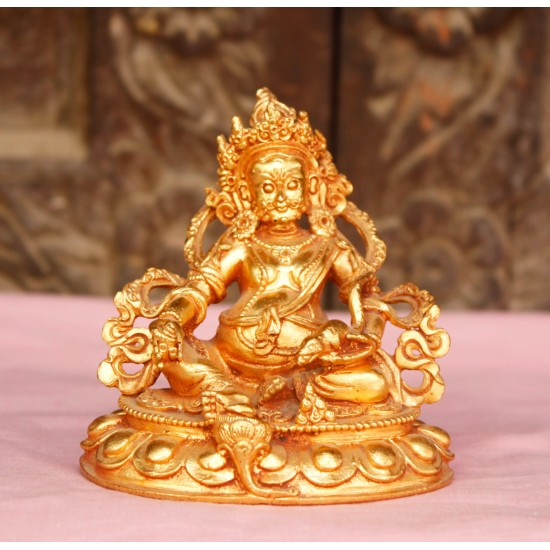 "Kuber Gold Gilt Copper Statue 2"" W x 3.5"" H"