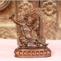 "Vajrapani Copper Antique Statue 3"" W x 4"" H"