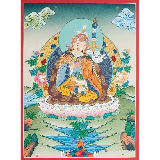 """Guru Padmasambhava Thangka Painting 15.5"""" W x 20.5"""" H"""