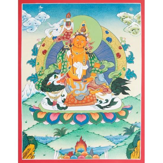 """Lion Kuber Tibetan Thangka Painting 15.5"""" W x 20.5"""" H"""