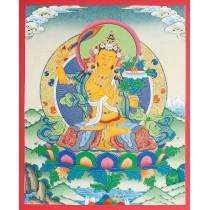 """Manjushree Tibetan Thangka Painting 15.5"""" W x 20.5"""" H"""