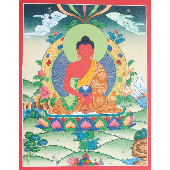 "Amitabha Buddha Tibetan Thangka Painting 15.5"" W x 20.5"" H"