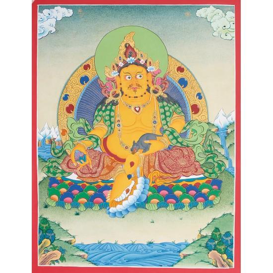 """Kuber Tibetan Thangka Painting 15.5"""" W x 20.5"""" H"""