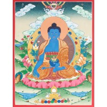 "Medicine Buddha Tibetan Thangka Painting 15.5"" W x 20.5"" H"