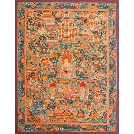 "Life Of Buddha Tibetan Thangka Painting 20"" W x 27"" H"