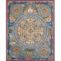 """Mandala Tibetan Thangka Painting 16.5"""" W x 21"""" H"""