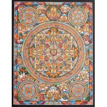 """Mandala Tibetan Thangka Painting 19.5"""" W x 25.5"""" H"""