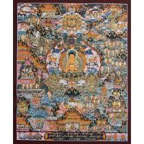 "Life Of Buddha Tibetan Thangka Painting 17"" W x 21.5"" H"