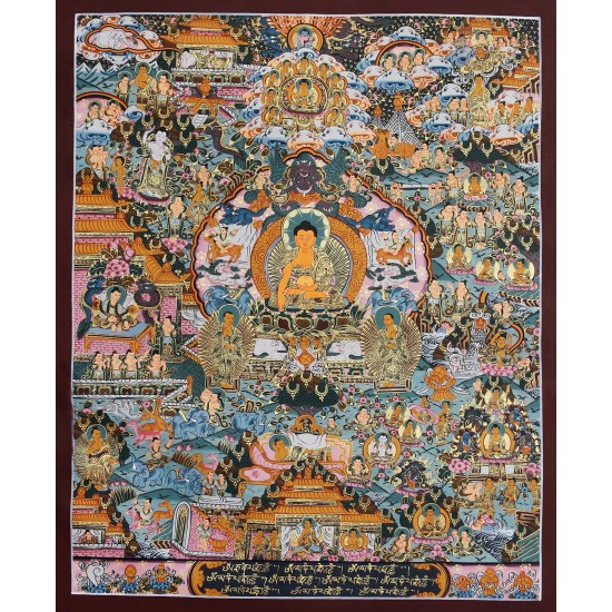 "Life Of Buddha Tibetan Thangka Painting 17"" W x 21.5"" H"