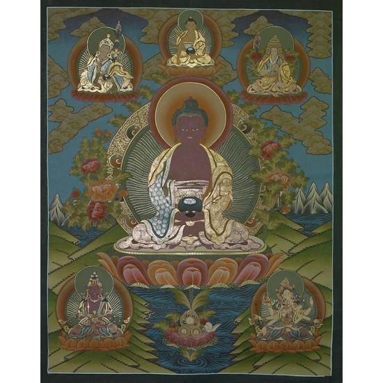 "Amitabha Buddha Tibetan Thangka Painting 28.5"" W x 38.5"" H"