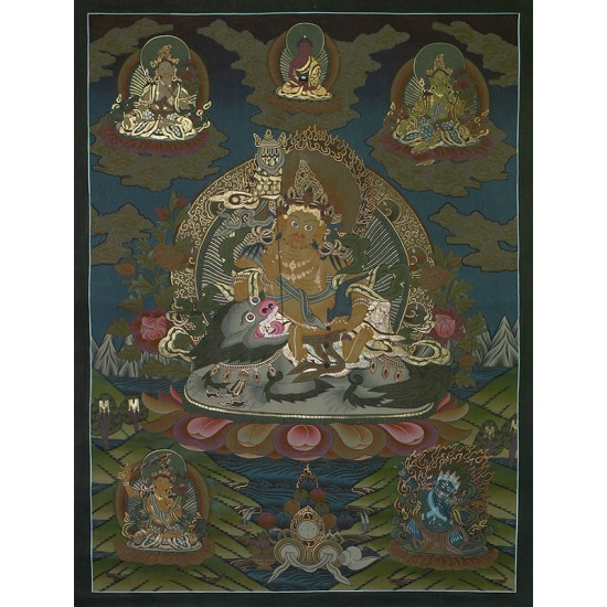 """Kuber Tibetan Thangka Painting 28.5"""" W x 38.5"""" H"""