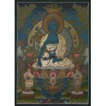 "Medicine Buddha Tibetan Thangka Painting 28.5"" W x 38.5"" H"
